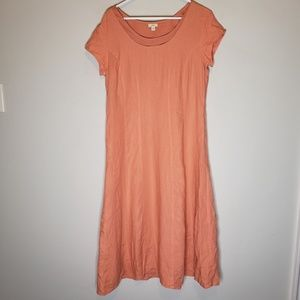 J. Jill Coral Linen Cap Sleeve Maxi Dress 12